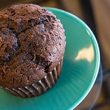 Chocolate cake muffin with dark chocolate chips