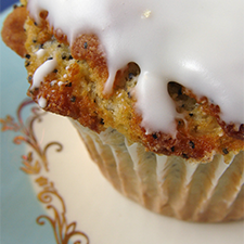 Lemon poppyseed muffins with a sweet lemon glaze topping