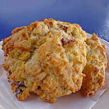 Rustic scones made with bacon, cheddar and a bit of real maple.