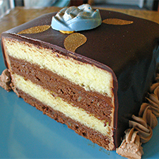 French Opera Cake with chocolate mousse and ganache